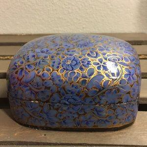 Beautiful Blue & Gold Lacquer Jewelry Trinket Box